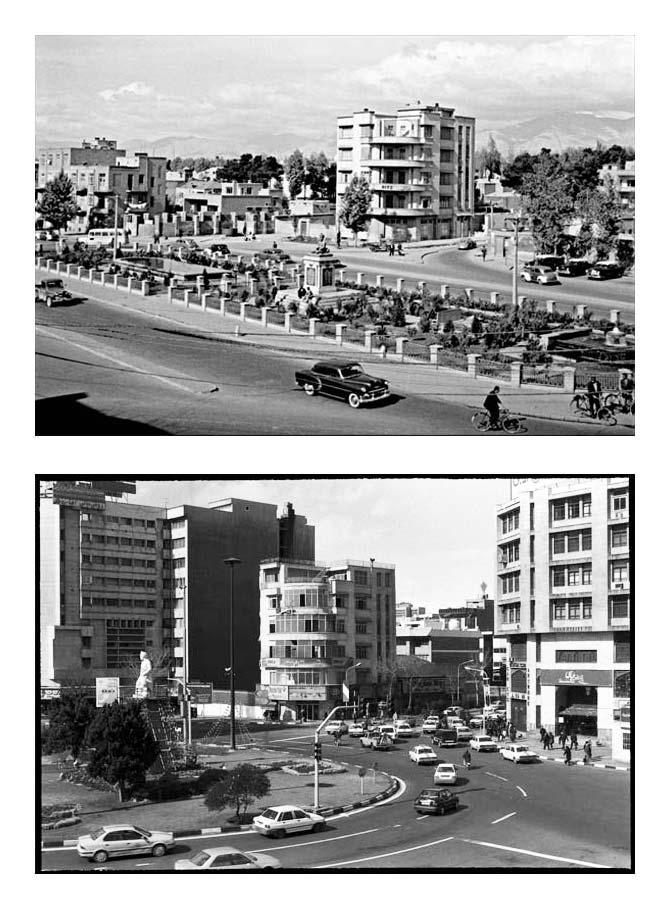 از مجموعه تجربه دوباره نگریستن . میدان فردوسی،  عکاسی آنالوگ . ۳۰×۲۰ سانتیمتر . ۱۳۸۴
