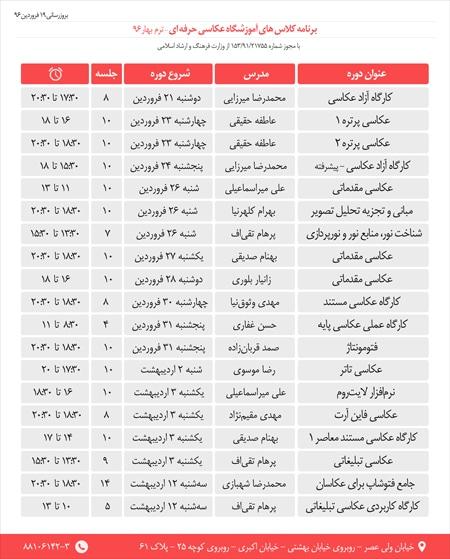 ثبتنام کلاسهای «آموزشگاه عکاسی حرفهای» در بهار ۹۶
