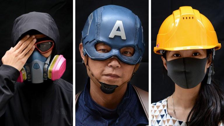 اعتراض نقابپوشان در هنگکنگ