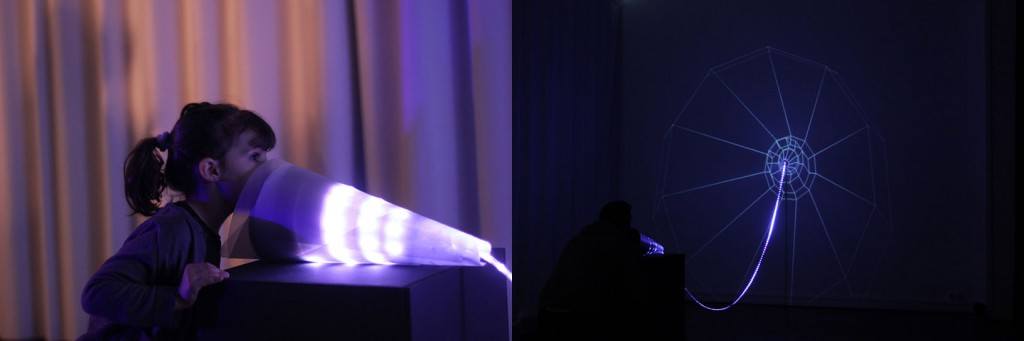 شکل 10. از صدا تا نور، سخن گفتن با دیوار، chevalvert, 2roqs, polygraphik, splank,، مرکز فرهنگی سنت اگزوپری، رنس، فرانسه، ۲۰۱۳َ، اثری تولیدشده بر مبنای مدل مشارکتی که از مدل  تعامل اجتماعی نیز بهره میبرد.