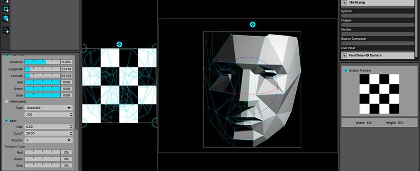 شکل 11. تصویری از رابط کاربری نرم افزار Mad Mapper. نرمافزار اختصاصی نگاشت تصویر بر اشیاء
