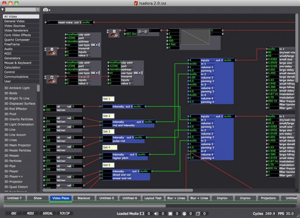شکل 12. تصویری از یک جزء (Patch) در رابط کاربری نرمافزار Isadora. این نرمافزارِ متنباز، امکان ایجاد چندین جزء بهطور همزمان را دارد.